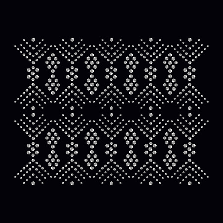 Rhinestone applique print for textile clothes in fashion luxury design. Trendy vector crystal studs embellishment with brilliants for apparel. Jewelry ornament embroidery for t-shirt hotfix transfer Çizim