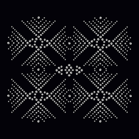 Rhinestone applique print for textile clothes in fashion luxury design. Trendy vector crystal studs embellishment with brilliants for apparel. Jewelry ornament embroidery for t-shirt hotfix transfer Stock Vector - 92236720