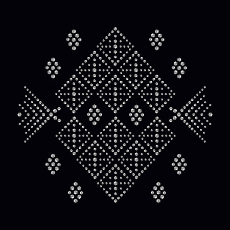 Rhinestone applique print for textile clothes in fashion luxury design. Trendy vector crystal studs embellishment with brilliants for apparel. Jewelry ornament embroidery for t-shirt hotfix transfer 일러스트