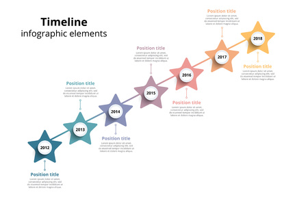 Linear business star timeline workflow info-graphics. Corporate milestones graphic elements. Company presentation slide template with year periods. Modern vector history time line design. Illustration