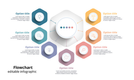 Business process chart infographics with 7 step segments. Circular corporate timeline infograph elements. Company presentation slide template. Modern vector info graphic layout design. Illustration