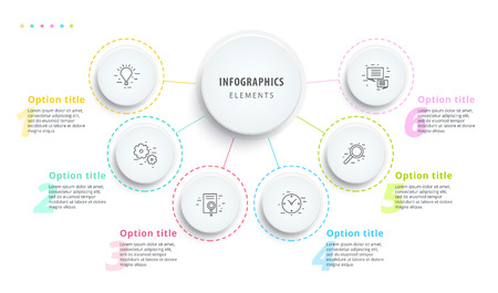 Business process chart infographics with 6 step segments, Circular corporate timeline infograph elements for presentation slide template, Modern information graphic layout design.