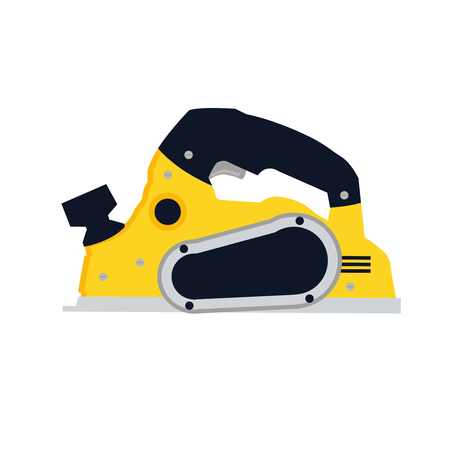 Jack plane or fore plane vector icon illustration if flat design. Woodworking carpenter hand tool symbol. Edge jointing instrument. Motorized rotary power planer sign.
