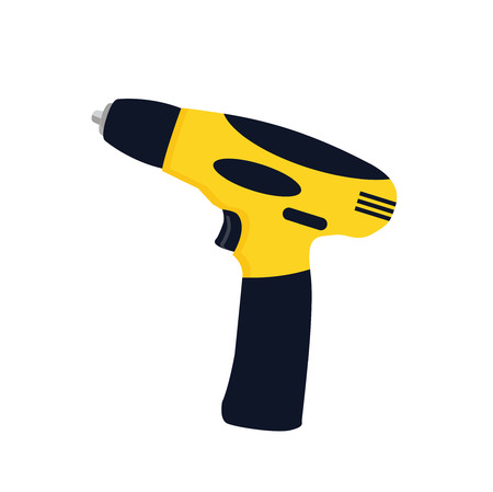Powered electric electric screwdriver or cordless drill vector icon illustration if flat design.  carpenter hand tool symbol. Motorized rotary power instrument sign.