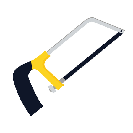 Hacksaw or hack saw vector icon illustration if flat design. Woodworking carpenter hand tool symbol. Bow saw instrument sign.