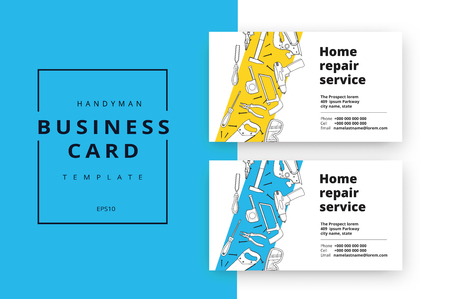 Home improvement corporate business card with repair tools. House construction id template. Renovation background for professional carpenter, handyman, builder. Vector illustration.