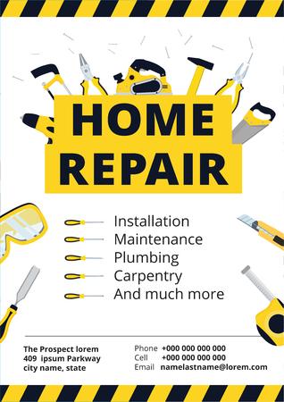 Cartaz de melhoria home ou flyer com ferramentas de reparação. Modelo de identificação de construção de casa. Fundo de renovação para carpinteiro profissional, faz-tudo, Construtor. Ilustração vetorial