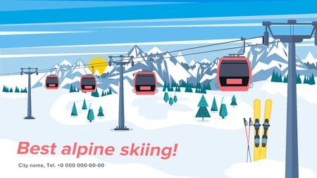 Colorful mountain ski resort background illustration. Bright layout with lift or gondola on winter alpine landscape. Stock Illustratie
