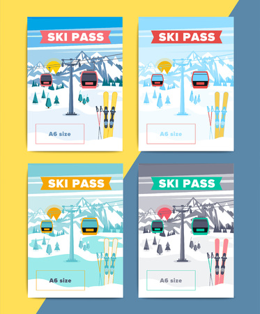 Set of vector ski pass template design. Colorful mountain resort background illustration. Skipass ticket or card layout with lift or gondola on winter landscape. Çizim