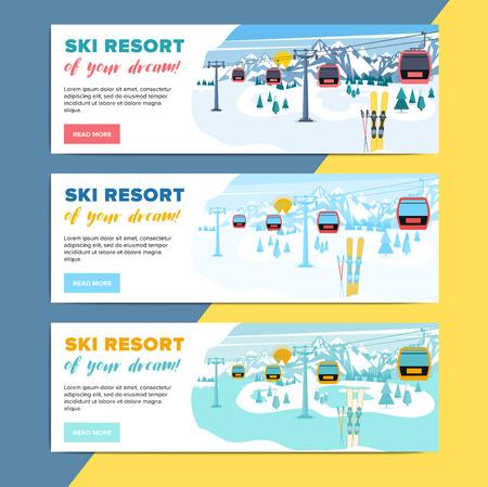 Colorful mountain ski resort background illustration. Bright layout with lift or gondola on winter alpine landscape for poster, flyer, banner. Illustration