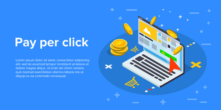 Pay per click marketing isometric vector concept illustration. Ppc business or cpc advertising web banner. Cost per click technology background.