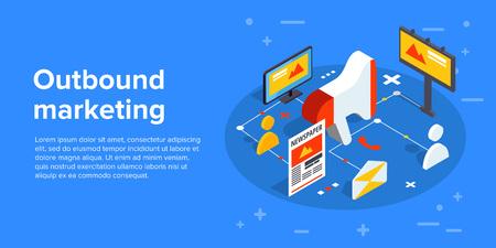 Outbound marketing vector business illustration in isometric design. Offline or interruption marketing background.