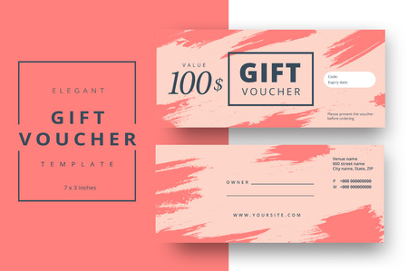 Abstract gift voucher card template. Modern discount coupon or certificate layout with artistic brush strokes pattern. Vector fashion bright background design with information sample text.