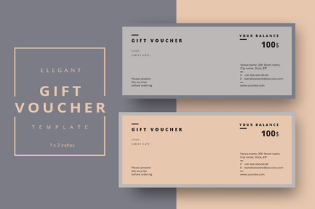 Abstract gift voucher card template. Modern discount coupon or certificate layout with geometric shape pattern. Vector fashion bright background design with information sample text. Reklamní fotografie - 94674637