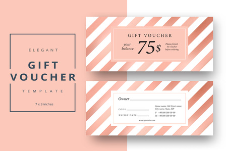 Abstract gift voucher card template. Modern discount coupon or certificate layout with bronze geometric stripe pattern. Vector fashion bright background design with information sample text.