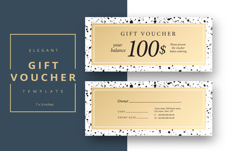 Abstract gift voucher card template. Modern discount coupon or certificate layout with black splash dot pattern. Vector fashion bright background design with information sample text.