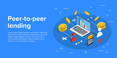 Peer-to-peer lending vector business illustration in isometric design. P2p concept, investing money in start-up project. Illustration