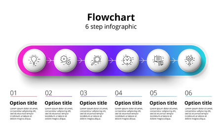 Business process chart infographics with 6 step segments. Circular corporate timeline infograph elements. Company presentation slide template. Modern vector info graphic layout design. Ilustrace