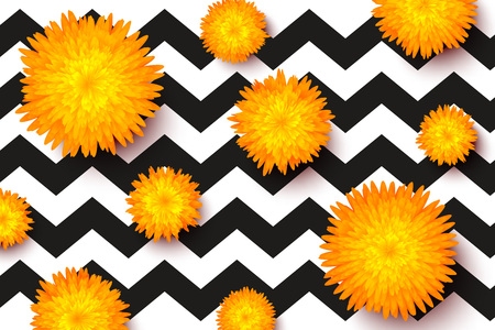 Trendy spring floral vector pattern template with yellow flowers and black zigzag strokes.