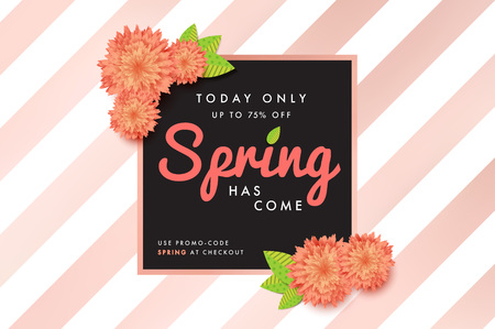Modern promotion spring web banner for social media mobile apps. Elegant seasonal sale and discount promo backgrounds with abstract pattern. Email ad newsletter layouts.