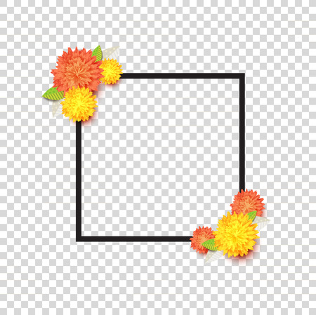 Trendy spring floral vector frame template with yellow and orange flowers and black stroke. Modern seasonal abstract background. Fashion print design for cards, banners and posters.