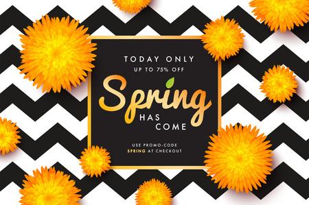 Modern promotion spring web banner for social media mobile apps. Illustration