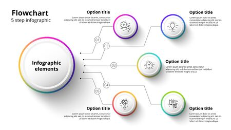 Business process chart infographics with 5 step segments. Illustration