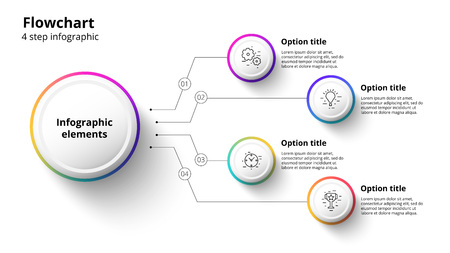 Business process chart infographics with 4 step segments. Illustration