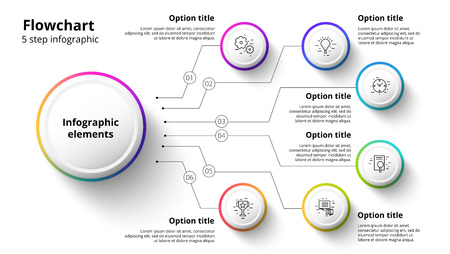 Business process chart infographics with 6 step segments. Circular corporate timeline infograph elements. Company presentation slide template. Modern vector info graphic layout design. Illustration