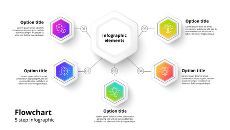 Business process chart infographics with 5 step segments. Circular corporate timeline infograph elements. Company presentation slide template. Modern vector info graphic layout design. Illustration
