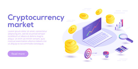 Cryptocurrency transfer isometric vector concept illustration. Digital crypto currency exchange or transaction process background. Blockchain network business layout. Online payment or mining process. Zdjęcie Seryjne - 99313689