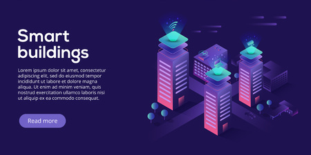 Smart city or intelligent building isometric vector concept. Building automation with computer networking illustration. Management system or BAS thematical background. IoT platform as future technology.