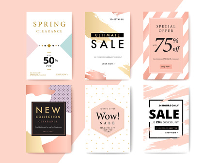 Modern promotion cell phone web banner for social media mobile apps. Elegant sale and discount promo backgrounds with abstract pattern. Email ad newsletter layouts. Illustration