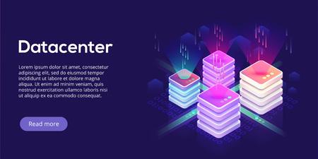 Datacenter isometric vector illustration. Abstract 3d hosting server or data center room background. Network or mainframe infrastructure website header layout. Computer storage or farming workstation.