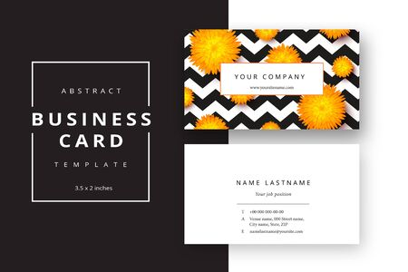 Trendy minimal abstract business card template with flowers. Modern corporate stationery id layout with geometric pattern. Vector fashion background design with information sample name text. Illustration