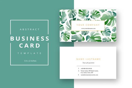 Trendy minimal abstract business card template. Modern corporate stationery id layout with monstera leaves. Vector fashion green background design with information sample name text. Illustration