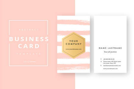 Trendy minimal abstract business card template. Modern corporate stationery id layout with artistic brush splashes. Vector fashion golden background design with information sample name text.