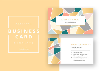 Trendy minimal abstract business card template. Modern corporate stationery id layout with geometric mosaic pattern. Vector fashion background design with information sample name text.