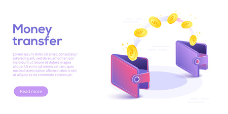 Money transfer from and to wallet in isometric vector design. Capital flow, earning or making money. Financial savings or economy concept. Illustration