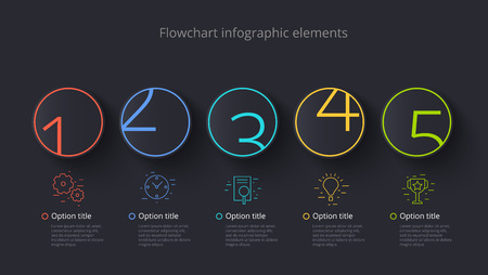 Business process chart info-graphics with 5 step segments. Circular corporate timeline info-graph elements. Company presentation slide template. Modern vector info graphic layout design.