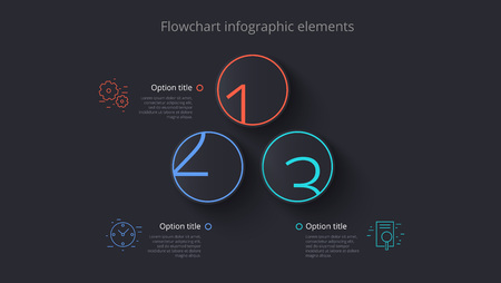 Business process chart info-graphics with 3 step segments. Circular corporate timeline info-graph elements. Company presentation slide template. Modern vector info graphic layout design.