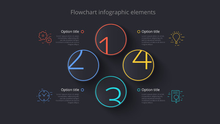 Business process chart info-graphics with 4 step segments. Circular corporate timeline info-graph elements. Company presentation slide template. Modern vector info graphic layout design.