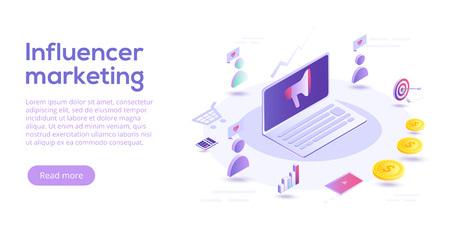 Influencer marketing isometric vector illustration. Blog advertising goods via internet social media. Website or blog ad influence on potential buyers. Illustration