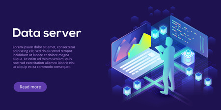 Hosting server isometric vector illustration. Abstract 3d datacenter or blockchain background. Network mainframe infrastructure website header layout. Computer storage or farming workstation. Иллюстрация