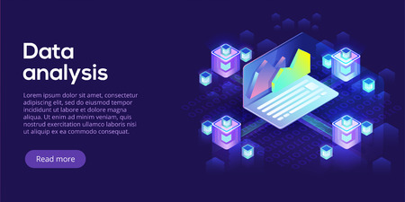 Hosting server isometric vector illustration. Abstract 3d datacenter or data center room background. Network mainframe infrastructure website header layout. Computer storage or farming workstation. Imagens - 102262776