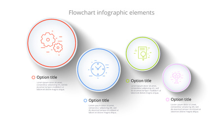 Business process chart infographics with 4 step segments. Circular corporate timeline infograph elements. Company presentation slide template. Modern vector info graphic layout design.
