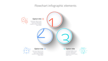 Business process chart infographics with 3 step segments. Circular corporate timeline infograph elements. Company presentation slide template. Modern vector info graphic layout design.