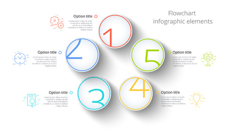 Business process chart infographics with 5 step segments. Circular corporate timeline infograph elements. Company presentation slide template. Modern vector info graphic layout design. 矢量图像