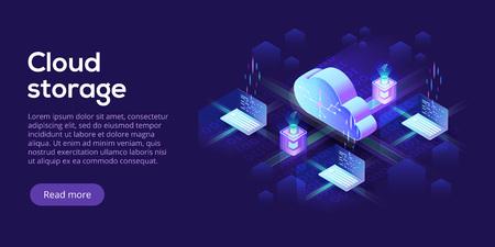 Isometrische Vektorillustration von Cloud Computing oder Speicher. 3D-Hosting-Server oder Hintergrund des Rechenzentrums. Header-Layout der Website des IT-Netzwerks oder der Mainframe-Infrastruktur. Computersystem oder Workstation. Vektorgrafik