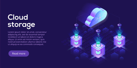 Cloud computing or storage isometric vector illustration. 3d hosting servers or datacenter background. IT network or mainframe infrastructure website header layout. Computer system or workstation.